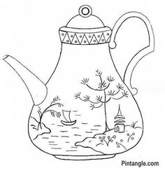 Free hand embroidery pattern of a teapot