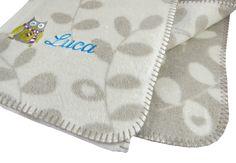 Fussenegger Kinderdecke mit Ihrem Wunschnamen bestickt, Panda (M) mit Stick Eule, 75 x 100, rohweiß: Amazon.de: Baby