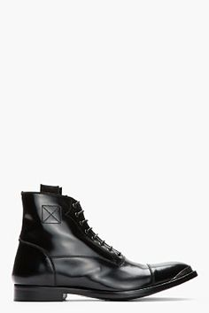 Alexander McQueen Black Leather Metal-trimmed Boots for men   SSENSE