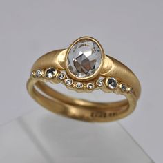 Rose cut sapphire Crescent engagement & wedding ring set - 18k yellow gold