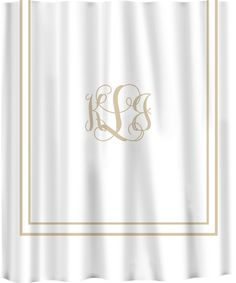 Custom Shower Curtain Simplicity In White Or Cream With Monogram Your Colors