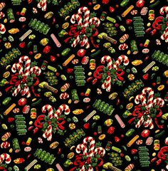 1950s Christmas Wrapping Paper - Christmas Candy Design.  Use the large size to print out your own gift wrap!