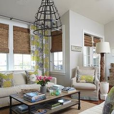 Beach Cottage Interiors With Bamboo Beachy Condo Cool Gray Walls Paint Color And Living Window Treatments