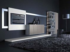 contemporary lacquered TV wall system PLOT : COMPOSITION 1 by S.Traverso & D.Daminato Flai