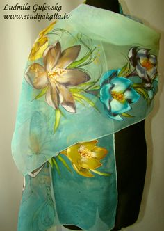 Natural silk shawl - floral, blue - pale green crocus, hand painted scarf