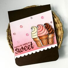 Sunny Studio Stamps: Sweet Shoppe Ice Cream Cone Card by creative_cucina Fall Cards, Winter Cards, Handmade Tags, Greeting Cards Handmade, Thank U Cards, Sunnies Studios, Cupcake Card, Studio Cards, Polka Dot Paper