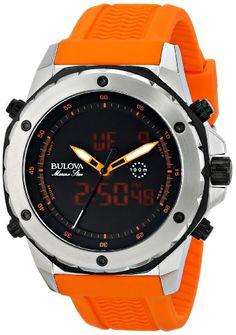 bed263ce025 Bulova Men s 98C118 Analog-Digital Display Japanese Quartz Orange Watch  Bulova http