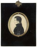 Miniature Watercolor of P. Oates of vermont, attributed to Rufus Porter, c. 1830