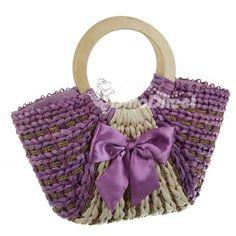 purple  straw bag