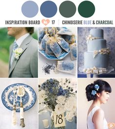Are you still looking at blues, greys, etc?  Chinoiserie Blue and Charcoal Wedding Inspirations. Image via Simply Peachy.