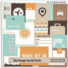 Bon Voyage Journal - Instant Download - diario stampabile schede per progetto vita e scrapbooking digitale di disegni Mira