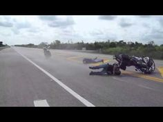 Harley Front Tire Blows Causing A Nasty Motorcycle Crashes