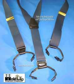 Slate Grey Casual Series Dual-clip Men's Holdup Suspenders with Y-back at Amazon Men's Clothing store:
