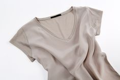 Close up of silk and cotton modal blend T-shirt