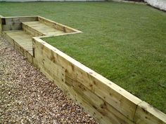 Navigate to the original site about Diy Front Landscaping Ideas Backyard Retaining Walls, Garden Retaining Wall, Sloped Backyard, Garden Paving, Sloped Garden, Backyard Landscaping, Sleeper Retaining Wall, Landscaping Ideas, Back Garden Design