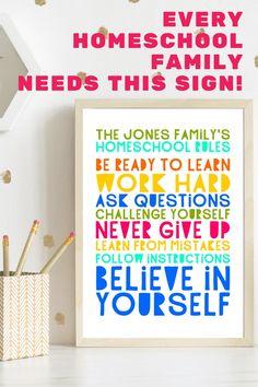 Homeschool Rules PRINTABLE poster personalized homeschool | Etsy