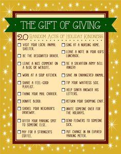 20 Random Acts of Kindness to Perform this Holiday Season | Printable Checklist!