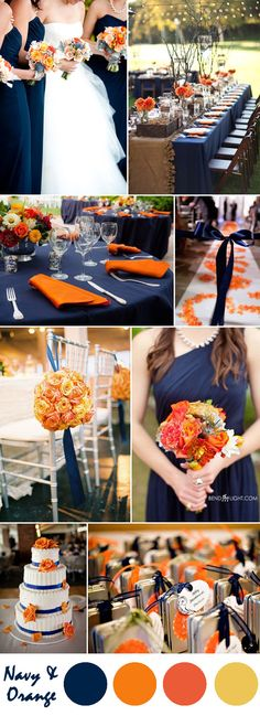 navy blue and orange wedding color ideas<br> What is the most popular wedding color theme for Of course, it is navy blue! It is a rich color that can be paired with many colors and make your wedding color palette perfect. In today's post, we've got all. Orange Wedding Colors, Popular Wedding Colors, Fall Wedding Colors, Autumn Wedding, Wedding Color Schemes, Wedding Flowers, Blue Orange Weddings, Coral Weddings, Wedding Dresses