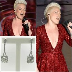 The lovely Pink wearing A. Link for Forevermark Ideal Cushion Empress Earrings during her Oscar performance!