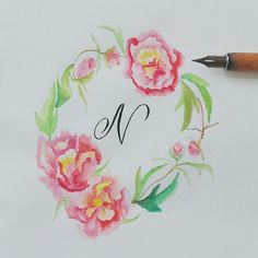 I'm not sure if I did the peonies right but here you go the letter N :) #calligrafikas #dippen #nibs