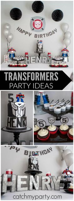 Check out this cool, modern Transformers birthday party! See more party ideas at CatchMyParty.com!