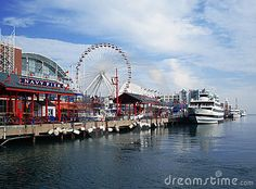 Photo about Summer day in Chicago downtown. View of Navy Pier. Image of ferris, pier, wheel - 13268539 Chicago Vacation, Chicago Travel, Chicago Trip, Chicago Illinois, Fun Places To Go, Places To Visit, Navy Pier Chicago, Chicago Photography, Travel Memories