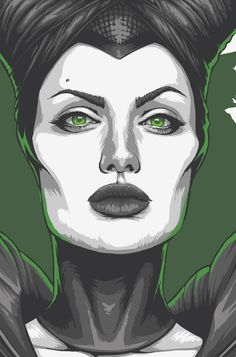 'Cause I love you, Angelina. Disney Pop Art, Arte Disney, Disney Drawings, Cool Drawings, Drawing Sketches, Maleficent Drawing, Pop Art Images, Abstract Face Art, Trash Art