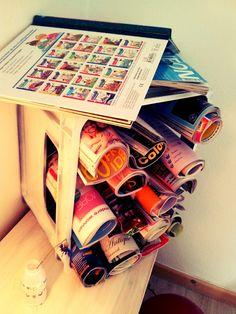Zeitschriftenständer/Bierkasten http://der-bastelblog.blogspot.de/2012/07/der-einfachste-zeitschriftenstander.html