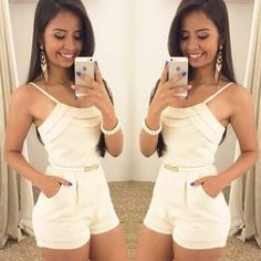 White, Elegant Jumpsuit / Only Me 💋💚💟💖✌✔👌💙💚 xoxo Cute Summer Outfits, Cool Outfits, Casual Outfits, Girl Fashion, Fashion Looks, Fashion Outfits, Womens Fashion, Mode Glamour, Cute Rompers