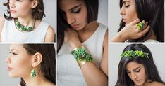 These jewelery pieces are made with real living succulents Flower Crown, Flower Art, Diy Jewelry, Jewelry Design, Real Plants, Floral Fashion, Design Inspiration, Drop Earrings, Pendant