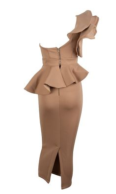 Be Faithful Nude One Shoulder Ruffle Peplum Twist Front Two Piece Body – Indie XO High Fashion Dresses, African Fashion Dresses, Trendy Dresses, Skirt Fashion, Cute Dresses, African Attire, Elegant Dresses, Fashion Outfits, Bodycon Midi Skirt