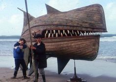 Brilliant recycling by British artist David Kemp, sculpture of a whale using old whale boats