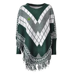 Women Poncho Cape Pullover Sweater Loose Fit Tassel Green