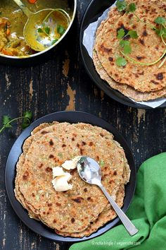 Lauki Paratha - Spiced Opo Squash / Zucchini Wheat Flatbread . Easy Indian flatbread. Yeast-free, Whole grain | VeganRicha.com #vegan #Indian #recipe