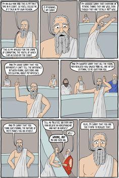 La defensa de Sócrates en cómic y en una página. (En inglés).