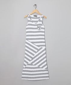Take a look at this White & Gray Stripe Maxi Dress - Girls on zulily today!