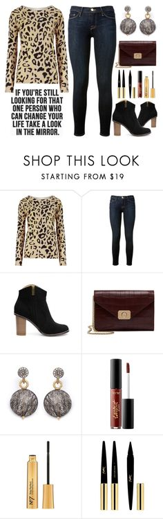 Street Style Chic - Animal Print Sweater by latoyacl on Polyvore featuring мода, M&S Collection, Frame Denim, Mulberry, Dana Kellin, Yves Saint Laurent and tarte