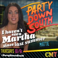 Will Martha make an appearance this season? #PartyDownSouth season 2 Premiere is happening right now on CMT!!