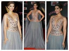 Sonam Kapoor Hot Cleavage Show Photos At Stardust Awards 2016