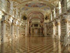 The [Admont Abbey] library hall, built in 1776 to designs by the architect Joseph Hueber, is 70 metres long, 14 metres wide and 13 metres high, and is the largest monastery library in the world. It contains c. 70,000 volumes of the monastery's entire holdings of c. 200,000 volumes. The ceiling consists of seven cupolas, decorated with frescoes by Bartolomeo Altomonte showing the stages of human knowledge up to the high point of Divine Revelation.