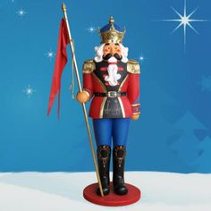 Life Size Nutcracker with Flag 6 ft. $769.00 Life Size Nutcracker with Flag. Crafted in durable chip resistant fiberglass, this Nutcracker is made to resist the elements. If you're looking for life size nutcrackers that are the epitome of fine craftmanship and captivating artistry, then consider this high quality Christmas nutcracker for your home, business, or shopping center. $769.00