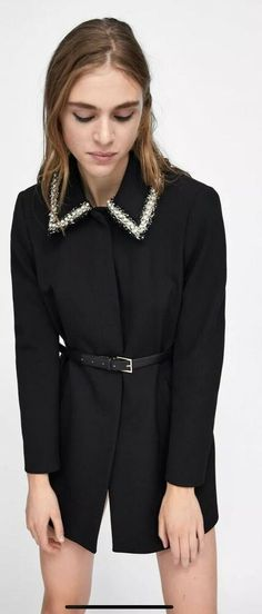 96e6ce04 ZARA BLACK FROCK COAT WITH PEARL BEAD EMBELLISHED SIZE S BNWT RRP£80  2215349800039