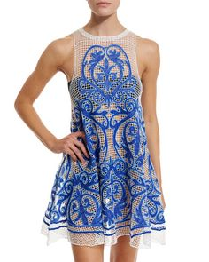 TBTLX Suboo Nostalgia Embroidered Mesh Dress, Blue
