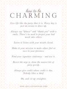 Something Charming: How to be Charming :: Start Simple