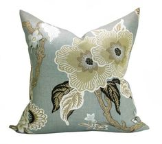 This listing is for one Hothouse Flowers Mineral pillow cover with linen backing. DESCRIPTION Designer: Celerie Kemble for F. Schumacher Colors: Pale mineral blue (almost gray), biscuit, tan, cream, charcoal   DETAILS Pattern placement WILL VARY from the listing photo, but will feature ONE LARGE FLOWER. The pillow cover shown in the listing photo is 20 x 20 with a 22 down blend insert. Inserts are available for purchase through the following link, which also includes sizing recommendations…