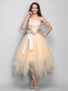 TS Couture® Cocktail Party / Homecoming / Holiday Dress - 1950s Plus Size / Petite A-line Strapless Tea-length Tulle with Draping / Sash / Ribbon – USD $ 300.00