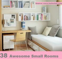 38 Awesome Small Room Design Ideas...For more creative tips and ideas FOLLOW https://www.facebook.com/homeandlifetips