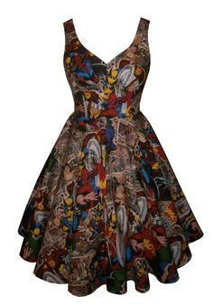 Full circle 'Lily' in Marvel 3 fabric. 1950s vintage style dress.