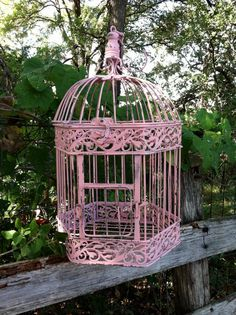 Victorian+Pink+Shabby+Chic+Bird+Cage+/+by+ReFeatherYourNest