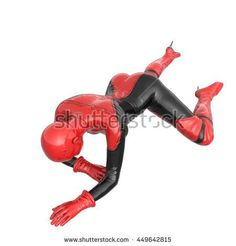 one tall woman in red black super suit. Woman crawling to camera. The view from top. 3D rendering, 3D illustration - stock photo